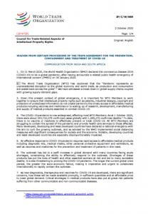 コロナ下でWTOの知的財産権規定の一部を執行停止すべきとのインド・南ア政府の呼びかけに多くの市民社会団体が賛同
