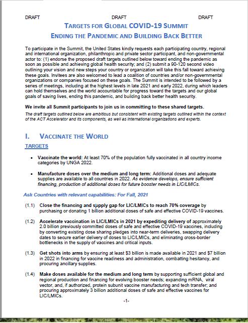 米国、コロナ収束と新たな国際保健秩序の形成への主導権確保の意思を表明